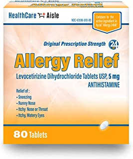 HealthCareAisle Allergy Relief Levocetirizine Dihydrochloride Tablets, USP | 24 Hour Allergy Relief | 5 mg | 80 Count
