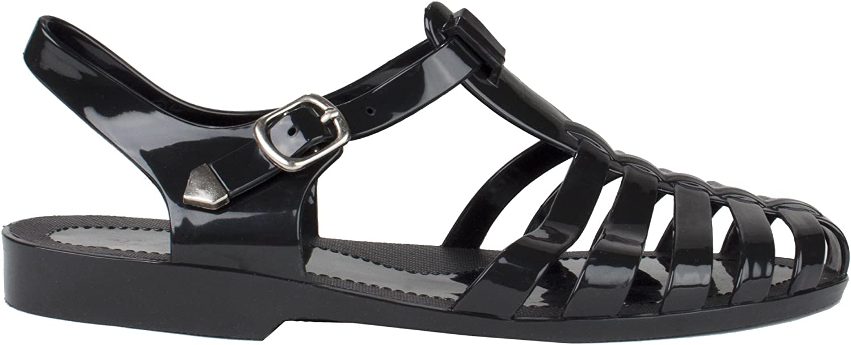 Static Footwear Forever Womens Jedi Summer T-Strap Retro Jelly Rain Flat Sandals