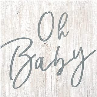 P. Graham Dunn Oh Baby Whitewash 3.5 x 3.5 Inch Pine Wood Tabletop Block Sign