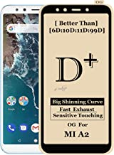 Xester ® [D-plus] Screen Protector Compatible with Redmi Mi A2 Anti-Fingerprint Tempered Glass Edge to Edge (9h Hardness, 6x Stronger, Installation Frame, Bubble Free) Full Screen Coverage