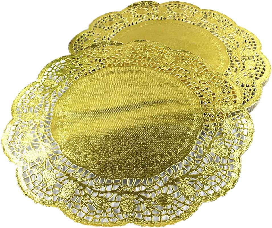 LoBake 13 5 Inches Golden Color Round Paper Lace Doilies Bread Placemats Wedding Place Mat Party Tabletop Accessories 100 Pieces Pack