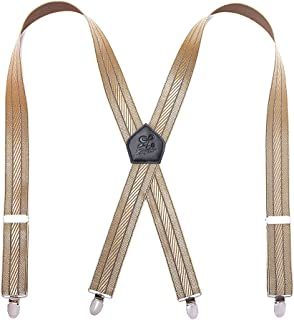 Men Braces KANGDAI Stainless Steel Metal Clips 4 X Back Durable Elastic Adjustable Suspenders Strong Metal Clips Heavy Dut...