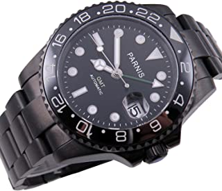 Fanmis Ceramic Bezel PVD Case Black Dial Stainless Steel GMT Automatic Mens Womens Calendar Wrist Watch