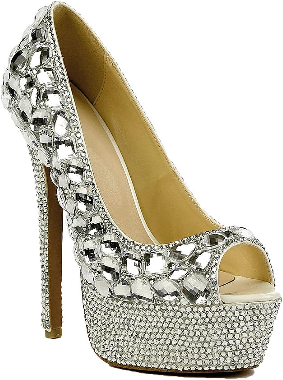 Lacitena Women's Peep Toe High Heels,Crystal High Heels,Rhinestone High Heels,Bridal Wedding shoes