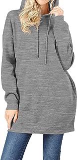 MixMatchy Women's Casual V-Neck Pocket Loose Sweatshirt Tunic