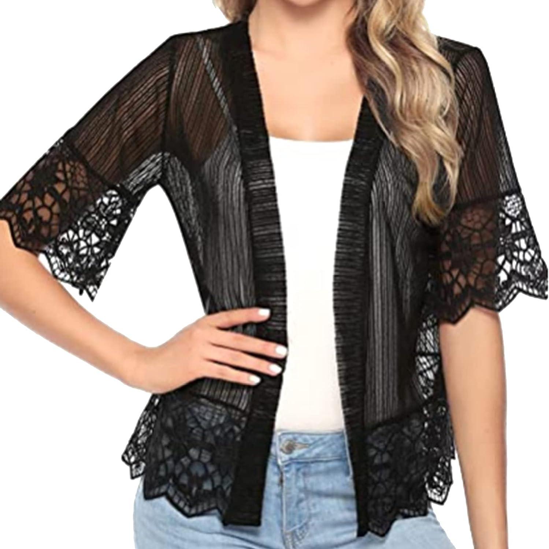 YONGHS Womens Lace Shrug Cardigan Half Sleeve Open Front Ruffle Bolero Jacket