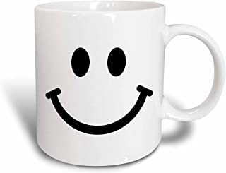 3dRose mug_113089_1 Smiley Face Square Black and White Smile Happy Smiling Cartoon Cute Smilies 60S Sixties Ceramic Mug, 11-Ounce