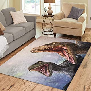 Semtomn Area Rug 5' X 7' Los Angeles USA Sep 27 Velociraptor in Area The Home Decor Collection Floor Rugs Carpet for Living Room Bedroom Dining Room