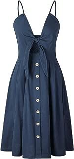 Women's Boho Tie Front Button Down Spaghetti Straps Floral Backless Swing Midi Dress