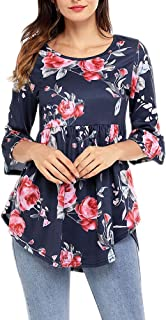 Afibi Women's Floral 3/4 Sleeve T-Shirt Pleated Blouse Ruffle Hem T-Shirts