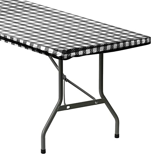 high quality Sorfey Indoor/Outdoor Vinyl high quality Elastic Edge Fitted Tablecloth Cover. Checkered Design, Flannel Backed Leak Proof popular Lining, Easy to Clean. Stretched to Fit 48 x 24 Inch Rectangle Table, Black sale