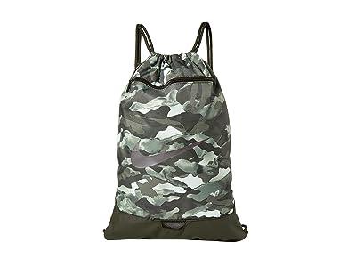 Nike Brasilia All Over Print Gym Sack 9.0 (White/Sequoia/Metallic Cool Grey) Backpack Bags