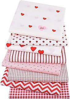 Topaty 8 peças de tecidos de algodão para o Dia dos Namorados Love Heart Fabric Squares Love Fabric Quilting Patchwork, cl...