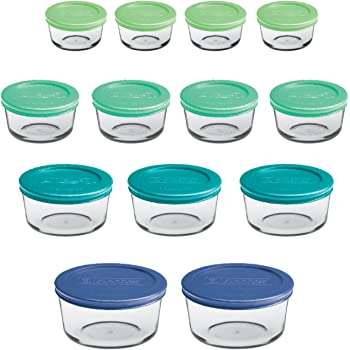 Anchor Hocking Round Food Storage Containers with Plastic Lids, Mixed Sizes, Set of 13
