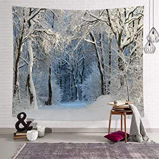 DEQI Christmas Tapestry Wall Hanging Nature White Forest Snow Wall Tapestry for Party Livingroom Bedroom Dorm Home Decor W90 x L71