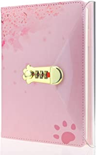 MAZERAN Cat Paw Shaped Combination Lock Journal, PU Leather Hard Cover Notebook Cute Diary, A5 Lined Password Locking Pers...