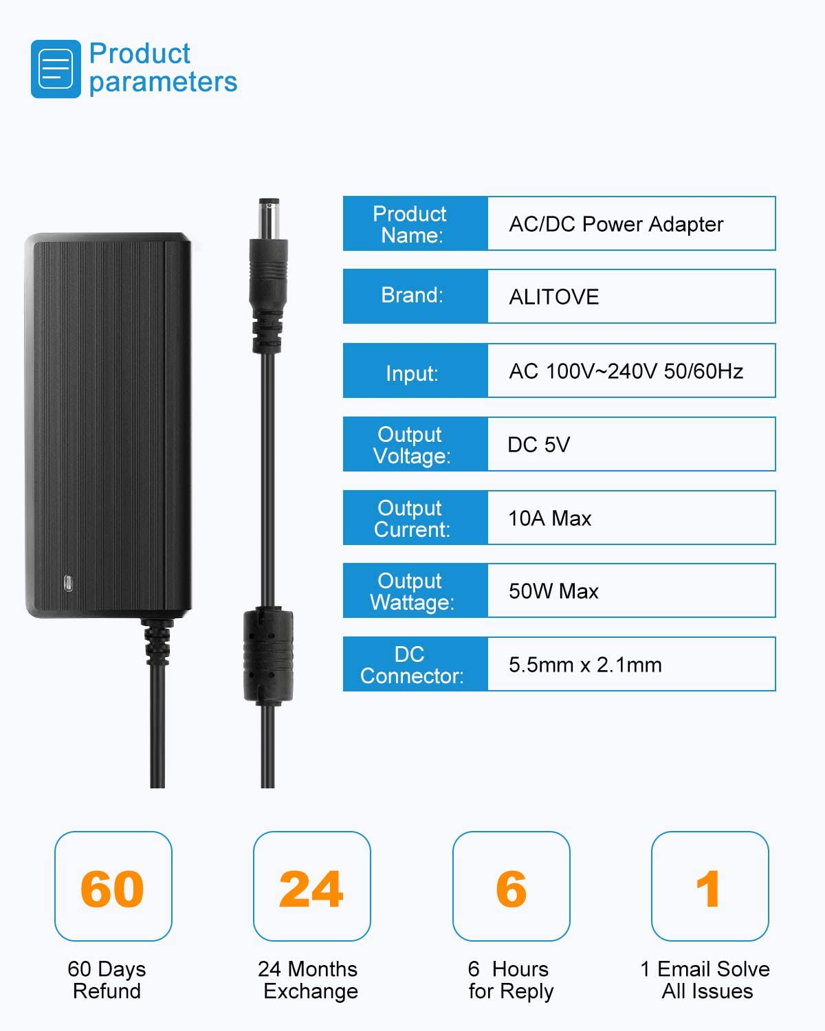 ALITOVE 30W Universal AC to DC Power Supply Adapter 3V 4.5V 5V 6V 7.5V 9V 12V Adjustable with 6 Adapter Tips /& USB Port for Household Electronics Routers TV Boxes LCD Speaker 0.5A 1A 1.5A 2A 2.5A Max.