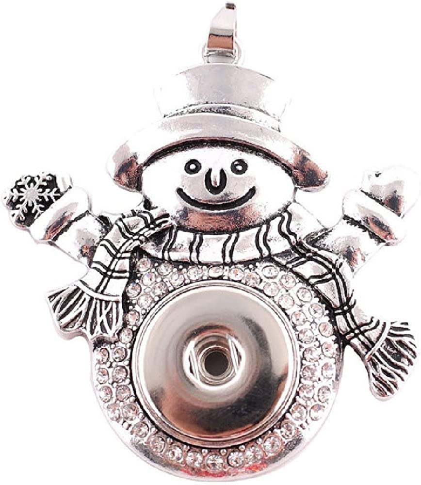 My Prime Gifts Snap Jewelry Rhinestone Snowman Pendant holds 18-20mm Christmas Button for Ginger Style Snaps