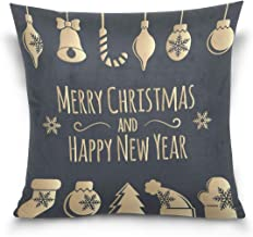 """MASSIKOA Merry Christmas and Happy New Year Decorative Throw Pillow Case Square Cushion Cover 18"""" x 18"""" for Couch, Bed, So..."""