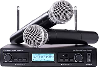 Sound Town 200-Channel Professional UHF Wireless Microphone System with 2 Handheld Microphones, for Church, Business Meeting, Outdoor Wedding and Karaoke