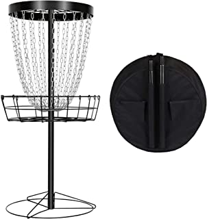 YAHEETECH 24 Chain Disc Golf Basket Portable Metal Disc Golf Target Flying Disc Golf Practice Basket w/Water Resistant Carrying Bag