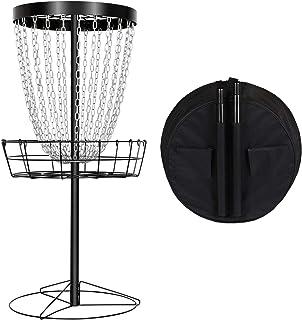 YAHEETECH Disc Golf Basket Target, 24-Chain Portable Metal Golf Goals Baskets W/Carrying Bag Practice Set