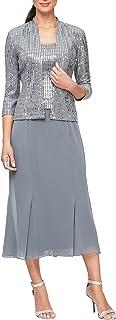 Alex Evenings Women's Tea Length Mock Dress with Sequin Jacket (Petite and Regular Sizes)