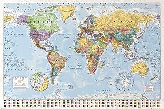 1art1 Mapas - Mapa del Mundo Político con Banderas Póster