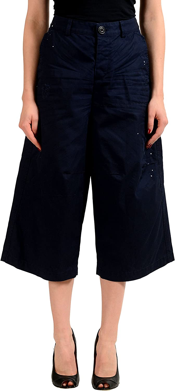 DSQUARED2 Navy Distressed Women's Cropped Casual Pants US L IT 44