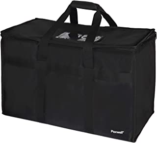 """Large Insulated Food Delivery Bag for Uber Eats, Doordash Drivers, Catering and Restaurants with Extra Bottom and Removable Separator to Transport Hot/Cold Items, 23"""" x 15"""" x 12"""" Inside"""