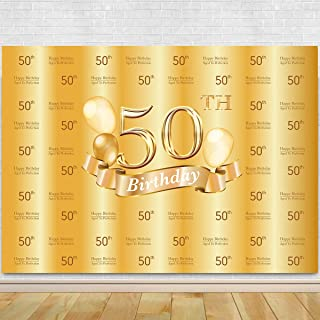 50th Birthday Photography Backdrop – 50th Golden Glitter Shiny Background –Fifty Years Old Age Party Decoration Photo Banner Photobooth Props