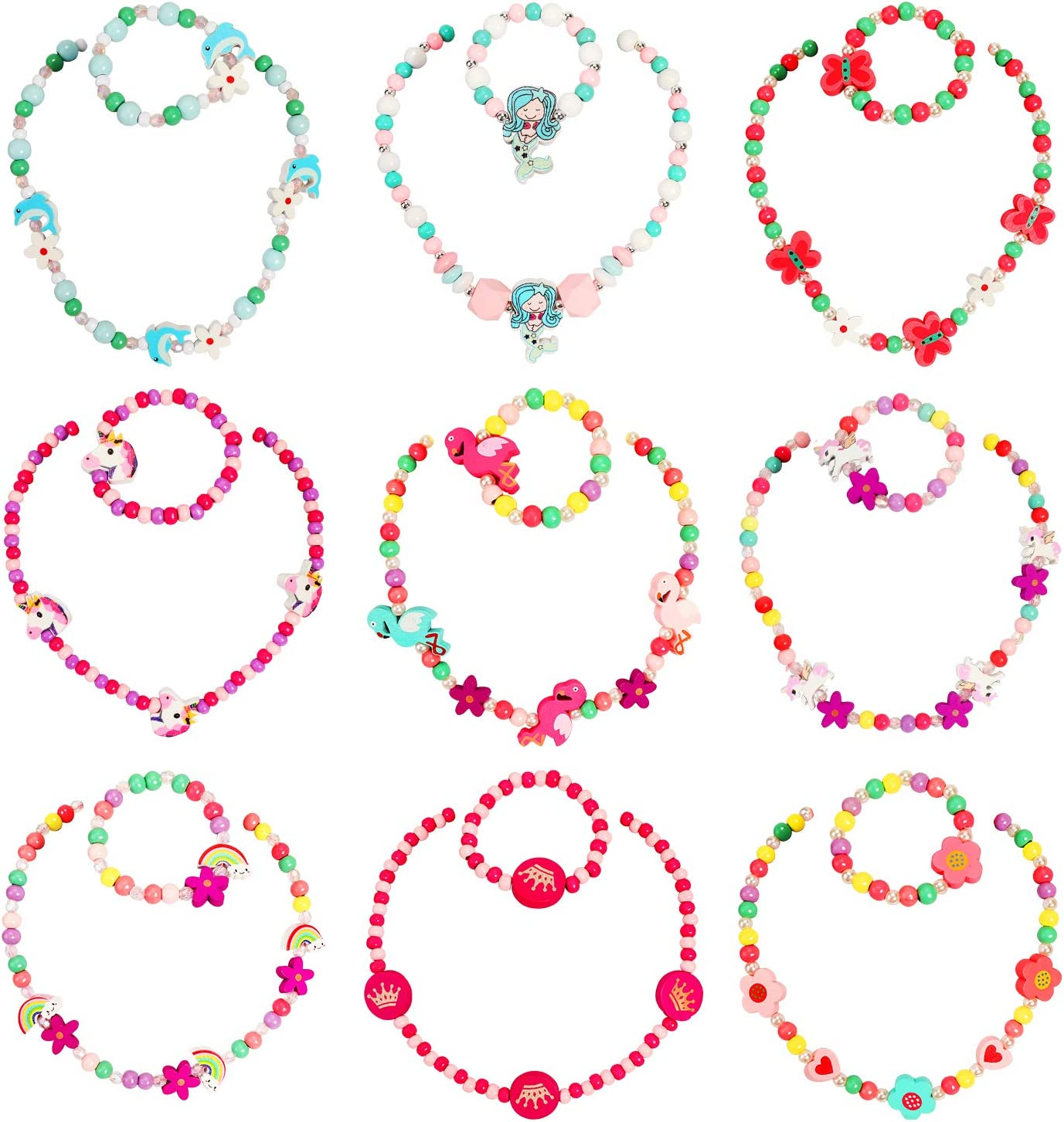 Hifot Beaded Necklace and Bracelets Mail order cheap for Unic Phoenix Mall Little 9 Sets Girl