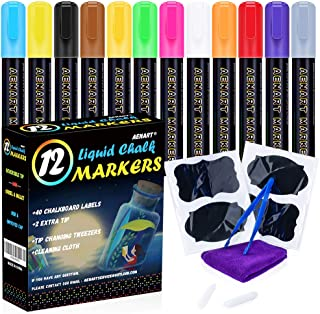 Chalk Pens, Liquid Chalk Markers, 12 Neon Marker for Blackboard, Glass, Bistro, Window. Including Reversible Tips and 40 Chalkboard Labels