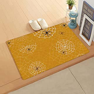 Halloween White Spid-er Web, Doormat for Outdoor Indoor Front Door Entrance Kitchen 18''x47'', Saffron Yellow Durable PVC ...