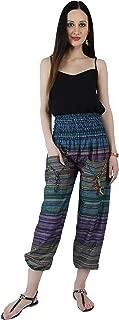 Crocon Women's Elephant Yoga Boho Pants with Pockets Long Beach Summer Smoke Waist Harem Pants Baggy Aladdin Trousers