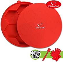 KitchenFirst Premium 7 in 1 Burger Press/Patty Maker & Freezer Container made of BPA free food grade silicone-nonstick mold for quarter pound patty with FREE silicone barbecue gloves and basting brush