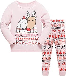 c8aab389baf Tkiames Noël Pyjama Enfant Bébé Fille Le Renne Coton Pantalons et Haut  Manches Longues Vêtements de