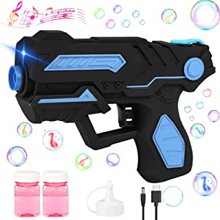 Rechargeable Bubble Gun,Bubble Machine with 2 Bottles Bubble Solution,Music and Light,Summer Outdoor Indoor Party Activit...