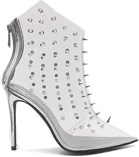 Jim Hugh Stretch Fabric Socks Boots Women Pointed Toe Zip Fashion Autumn Occident High Heels Mid Calf Shoes