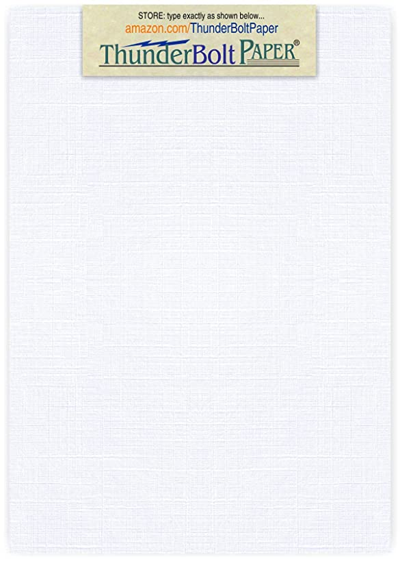75 Bright White Linen 80# Cover Paper Sheets - 5