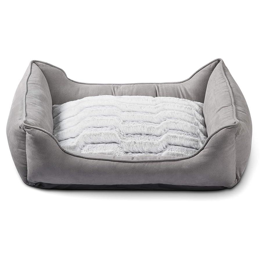 羊の虫クライアントZerohub ペットクッション ペットベッド 丸洗い 耐噛み 犬用ベッド 角型 (65×55×18㎝, ライトグレー)