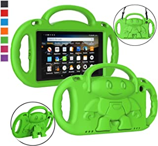 LTROP All-New Fire HD 8 Tablet Case, Fire 8 2018 Case for Kids - Light Weight Shock Proof Handle Friendly Stand Child-Proof Case for Fire 8-inch Display Tablet Bumper Cover (2017&2018 Release) (Green)