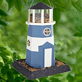 Best North States Village Collection Shoreline Large Nautical Blue/White Lighthouse Birdfeeder: Easy Fill and Clean. Squirrel Proof Hanging Cable included, or Pole Mount (pole sold separately). Extra Large, 8 pound Seed Capacity (9.5 x 10.25 x 14.5, Nautical Blue/White) Review