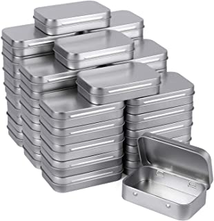 Tamicy Metal Rectangular Empty Hinged Tins - Pack of 40 Silver Mini Portable Box Containers Small Storage Kit & Home Organ...