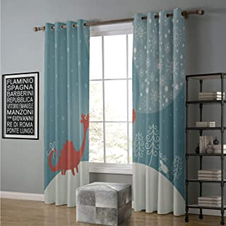 alilihome Blackout Curtain Styles & Sizes 108 by 108 Inch Missouri,Cute Cartoonish Dragon Blows Snowflakes Frosty Snowing Winter,Dark Salmon Cadet Blue Ivory