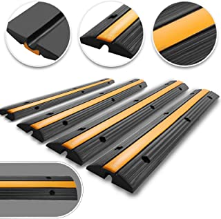 Happybuy 4 Pack of 1-Channel Rubber Cable Protector Ramps Heavy Duty 18000Lbs Load Capacity Cable Wire Cord Cover Ramp Speed Bump Driveway Hose Cable Ramp Protective Cover (1-Channel, 4Pack-18000Lbs)