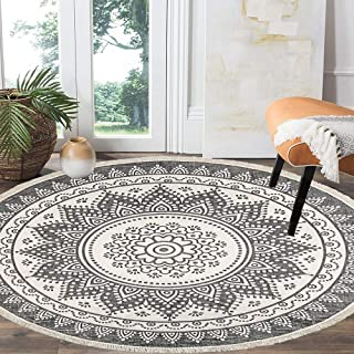 HEBE 4 Ft Cotton Rugs Round Washable Chic Bohemian Mandala Hand Woven Round Rugs with Tassels Indoor Throw Area Rug for Li...