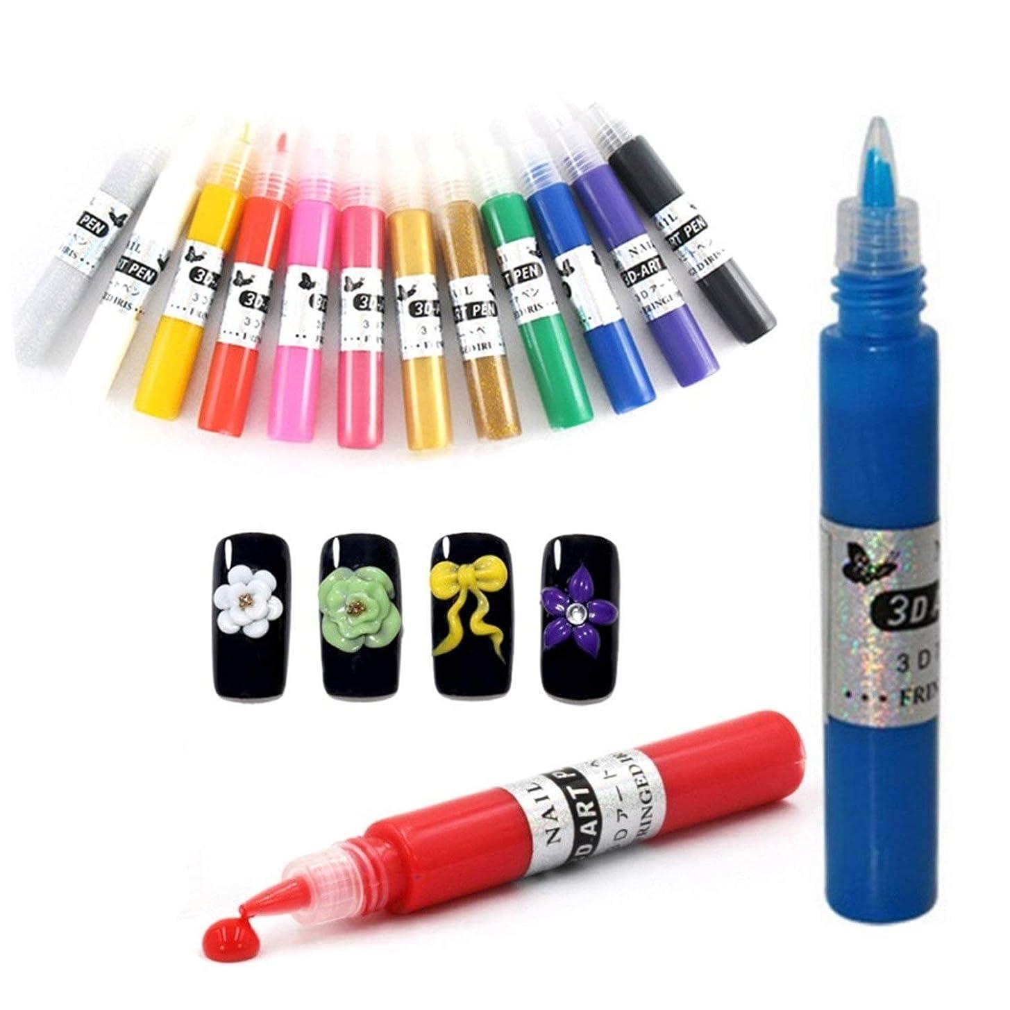 隣接透明に引退するネイルアートペン  3Dネイルアートペン ネイルマニキュア液 ペイントペン DIY 12色