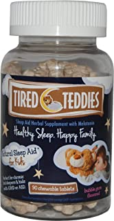 Tired Teddies Natural Sleep Aid for Kids Melatonin (0.3 mg) Herbal Supplement
