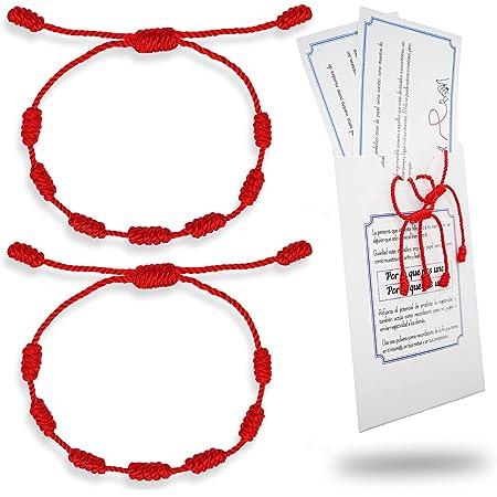 HAND-PRO Pulsera roja Mal de Ojo Pulsera roja 7 Nudos Hilo Rojo del Destino Trenzado Pulsera de la Suerte y protección Amuleto para el Mal de Ojo Pulsera Siete Nudos roja